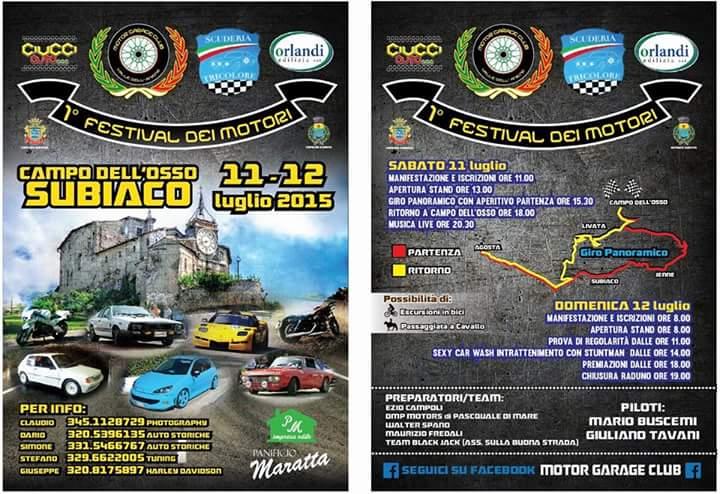 LUGLIO 11-12, 2015 - 1°Festival dei Motori, Subiaco- PAG.1